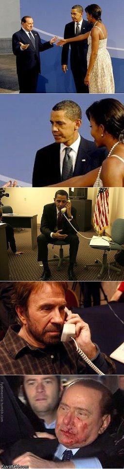 Barak Obama, Chuck Norris, Silvio Berlusconi