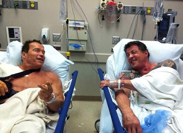 Arnold Schwarzenegger and Sylvester Stallone Meet in hospital.