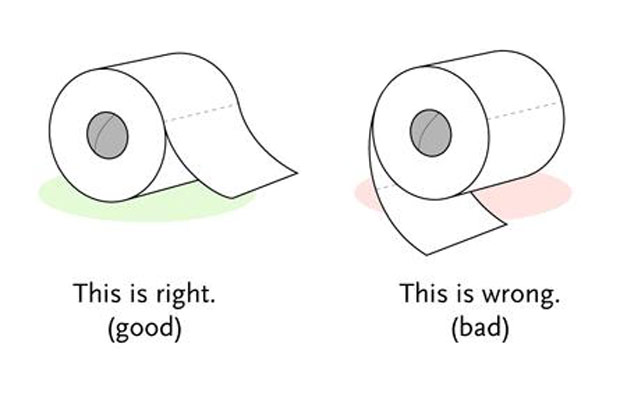 Toilet roll, true or false.
