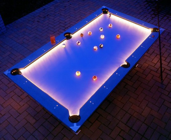 Outdoor Pool Table with Cool Lighting