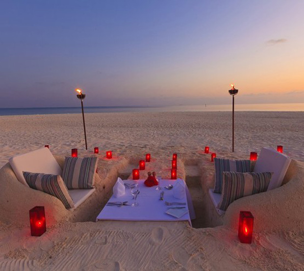 Beach Dining, Table & Seating Sculpted with Sand