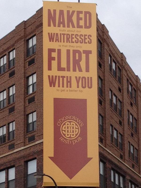 Naked Waitresses Flirt With You – O'Donovan's Irish Pub Sign