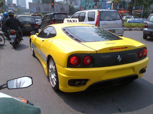 Ferrari and Porsche Taxis in Jakarta