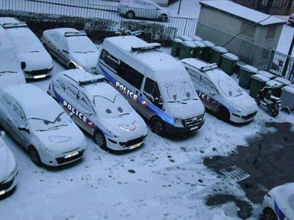Car Faces in the Snow
