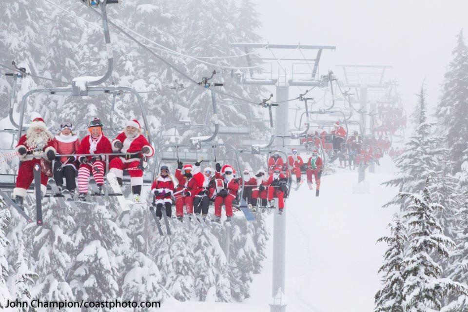 Best Ski-Lift Photo Ever: Santa Day at Whistler Blackcomb