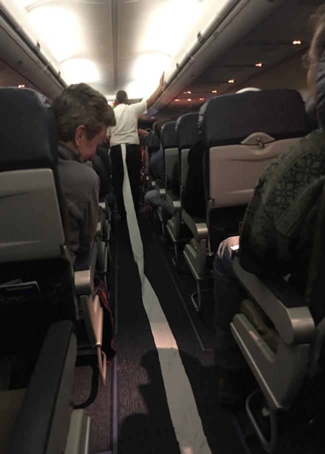 The flight attendant toilet roll